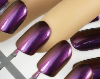 Duochrome Nails, Artificial Nails, Set of False Nails, Glitter False Nails, Holo Press on Nails, Purple Red Nails, Short Fake Nails