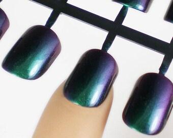 Artificial Nails, Holo Press on Nails, False Nail Set, Glitter False Nails, Purple Green Nails, Set of Fake Nails, Duo Chrome Nails