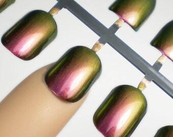 Duochrome Nails, Holo Press on Nails, Artificial Nails, False Nail Set, Short Fake Nails, Copper Pink Nails, Iridescent Nails, Holo Nails