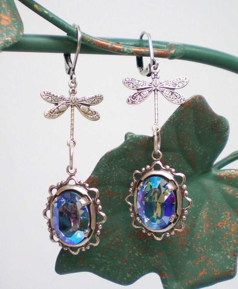 Vintage Inspired Jewelry Drop Earrings Dragonfly Earrings Aqua Glacier Blue Rhinestone Earrings Gift For Her Dragonfly Lover Gift
