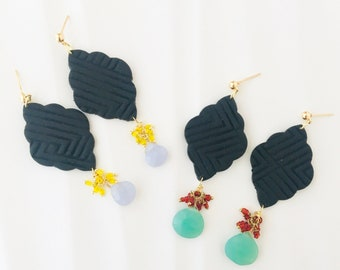 Black Texture Geometric Polymer Clay and Briolette Cluster EARRINGS for women - dangle and drop earrings