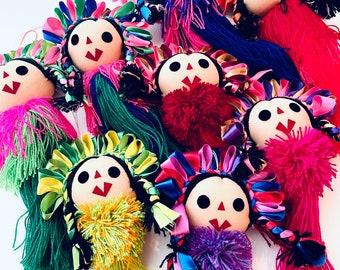 Mexican Maria Doll Pom Pom, Handmade Ornaments, Mexican Doll Ornaments, Embroidered, Maria Tassels, Maria Doll