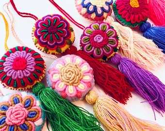 Mexican Round Pom Pom, Handmade Ornaments, Mexican Circle Ornaments, Embroidered, Tassels