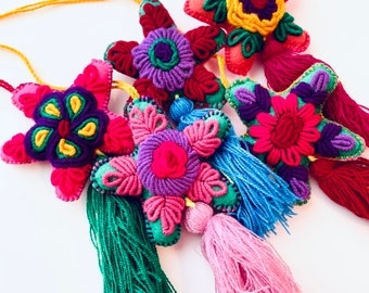 Mexican Star Pom Pom, Handmade Ornaments, Mexican Ornaments, Embroidered, Tassels