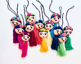Mexican Frida Pom Pom, Handmade Ornaments, Mexican Ornaments, Embroidered, Frida Tassels