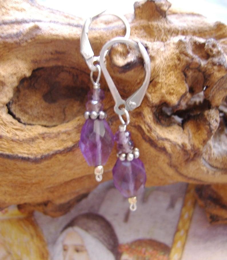 Boho Earrings Handmade Earrings Sterling Silver Earrings Amethyst Earrings Silver Earrings Purple Earrings