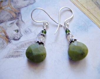Green Jade Earrings, Green Earrings, Earrings, Jade Earrings, Silver Earrings, Dangle Earrings, Boho Earrings, Gemstone Earring  Ship Free