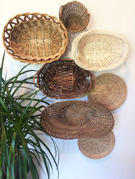 Vintage Shell Shaped Tan Wicker Woven Baskets for Wall Table Top Bohemian Boho Farmhouse Home Decor 10 14 x 7 14