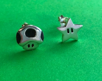 Super Mario star and mushroom (toad) earrings - handmade Sterling silver (small size)