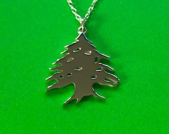 Cedar tree pendant handmade Sterling Silver