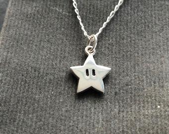Super Mario star Pendant - handmade Sterling silver (small size)