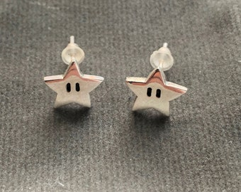 Super Mario star earrings - handmade Sterling silver (small size)