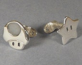 Super Mario star and Mushroom Cufflinks - handmade sterling Silver