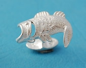 Mens Cufflinks - Sterling Silver Bass Fish Cufflinks