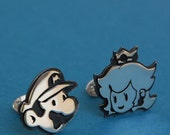 Mario and princess peach handmade Cufflinks - Sterling silver- for grooms, groomsmen, wedding, birthday, fathers day