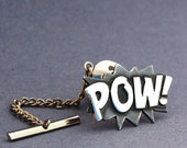 Sterling silver POW tie pin