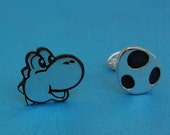 Cufflinks - Sterling silver Yoshi and Egg - for grooms, groomsmen, wedding, birthday, fathers day