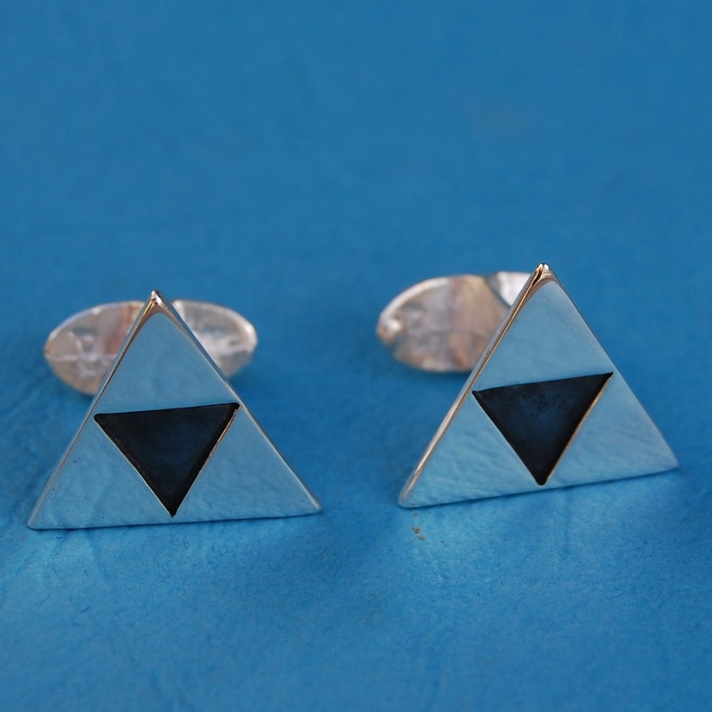 Sterling silver Legend of Zelda Triforce cufflinks image 0