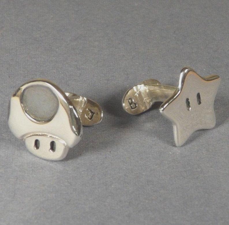 Cufflinks  Sterling Silver Super Mario star and Mushroom image 0