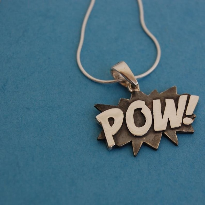 Sterling silver Pow necklace and sterling silver chain image 0