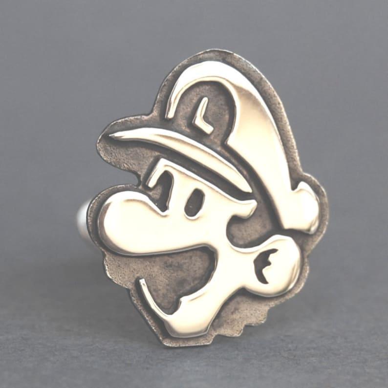 Cufflinks  Sterling Silver Mario and Luigi cufflinks image 0