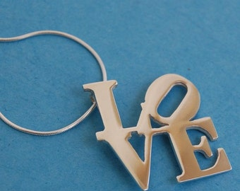 Sterling Silver Love statue Pendant & chain Inspired by the NY sculpture by Robert Indiana