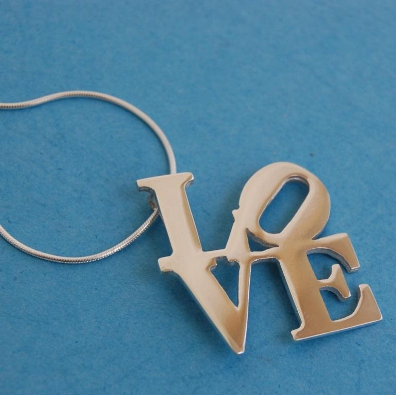 Sterling Silver Love statue Pendant & chain Inspired by the NY image 0