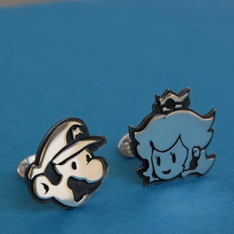 Cufflinks  Sterling silver Mario and princess peach  for image 0