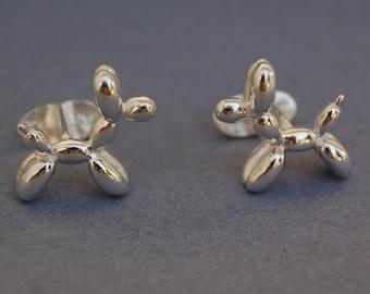 Solid sterling silver balloon Dog cufflinks