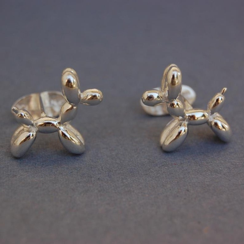 Solid sterling silver balloon Dog cufflinks image 0