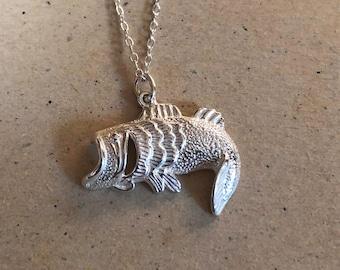 Bass Fisherman handmade Sterling Silver pendant