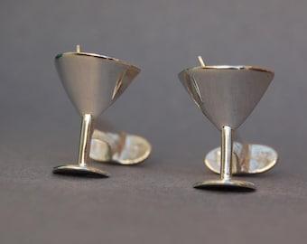 Martini glass handmade cufflinks Sterling silver