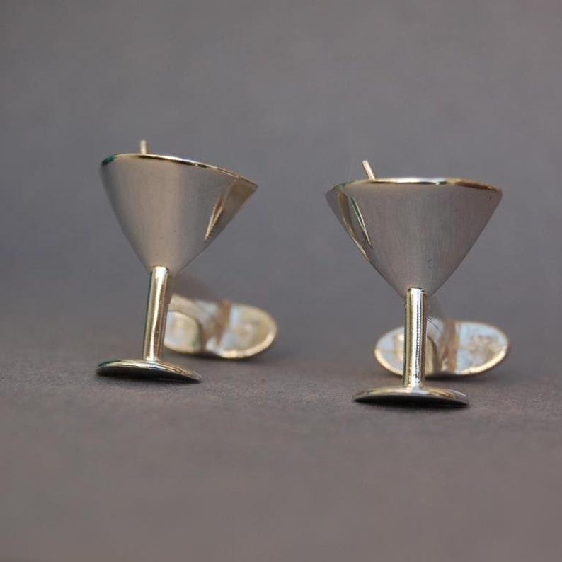 Sterling silver Martini glass cufflinks image 0