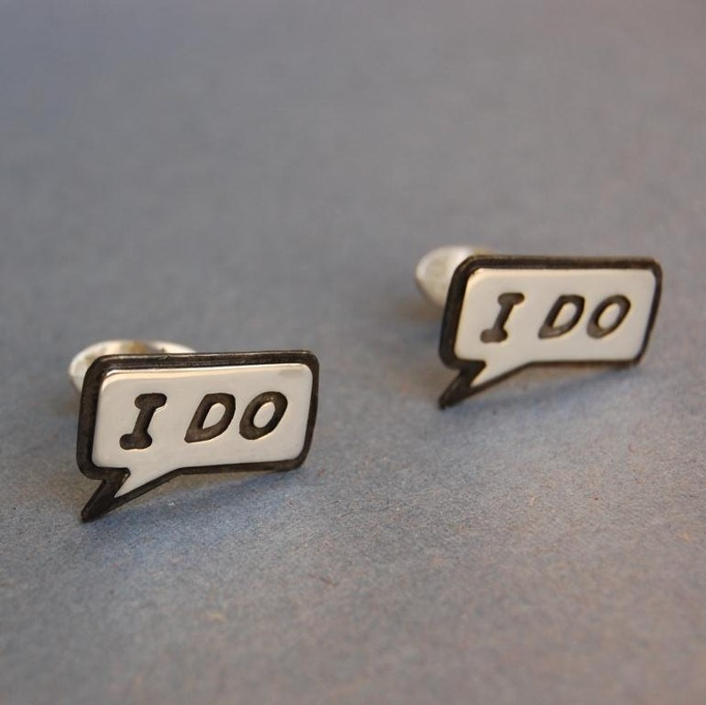 Mens Sterling silver wedding cufflinks I DO image 0