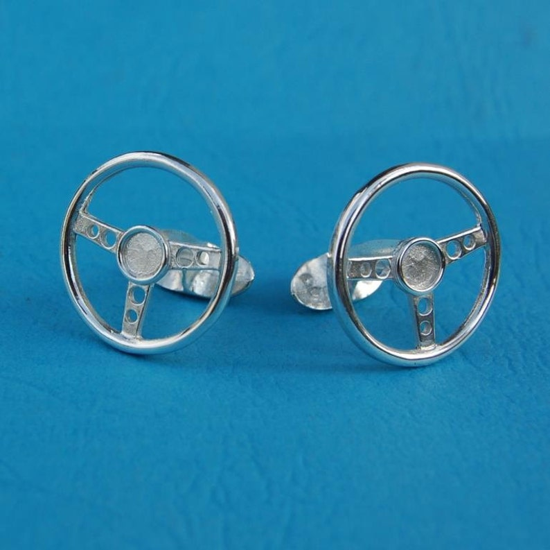 Sterling silver steering wheel cufflinks image 0