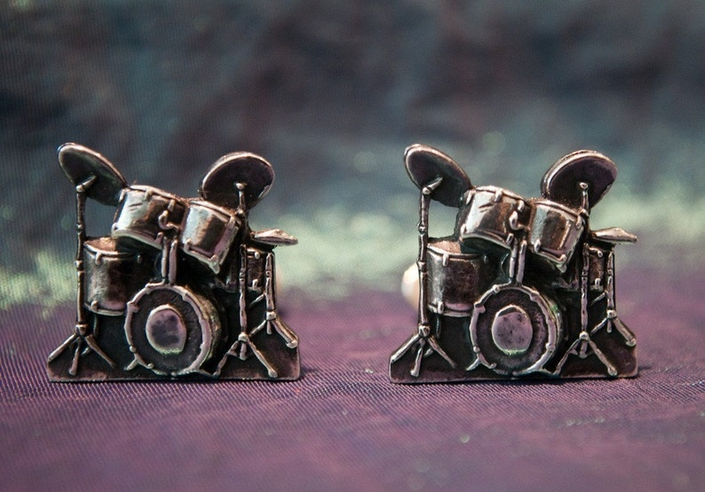 Sterling Silver Drum kit Cufflinks image 0