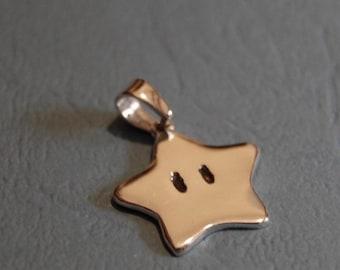 Mario star Pendant - handmade Sterling silver