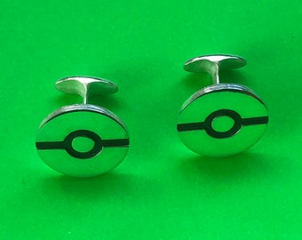 Pokemon ball cufflinks handmade Sterling Silver