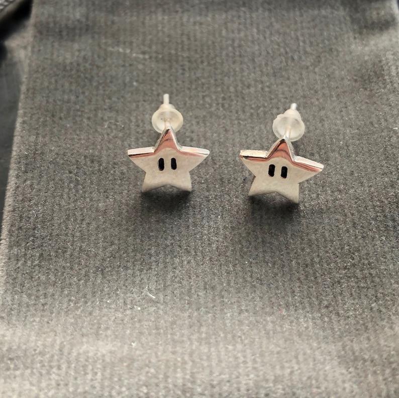 Super Mario star earrings  handmade Sterling silver small image 1