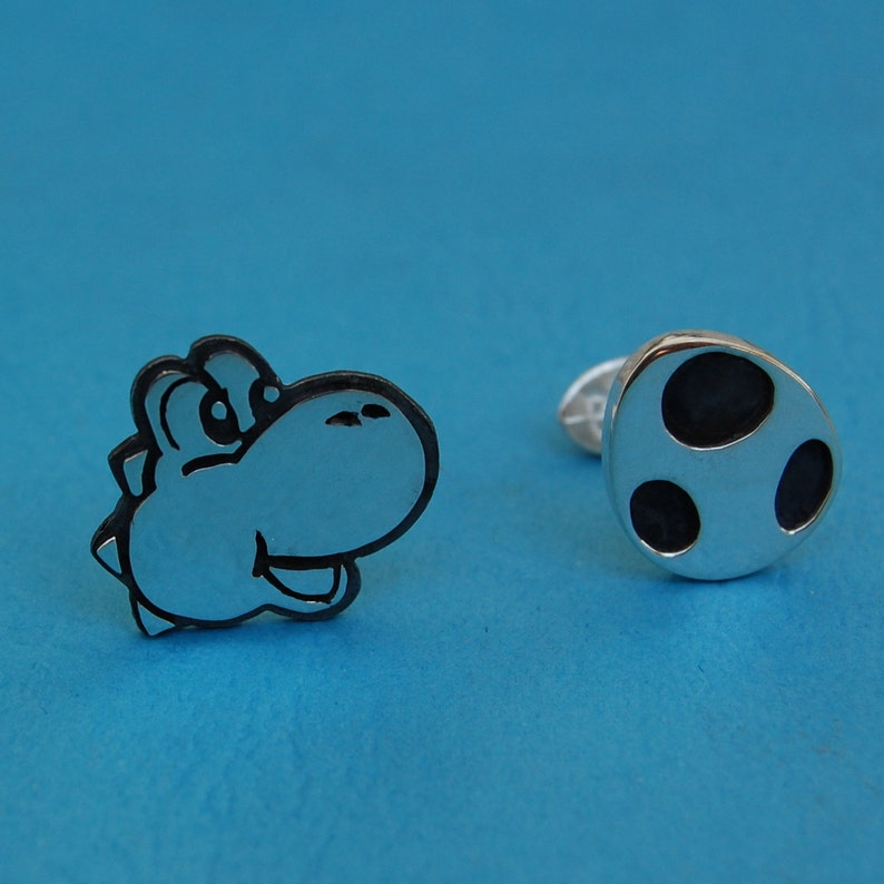 Cufflinks  Sterling silver Yoshi and Egg  for grooms image 0