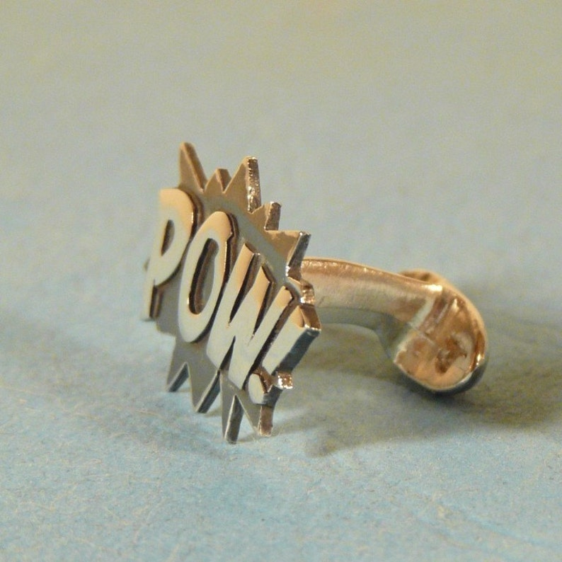 Sterling silver POW Cufflinks image 0