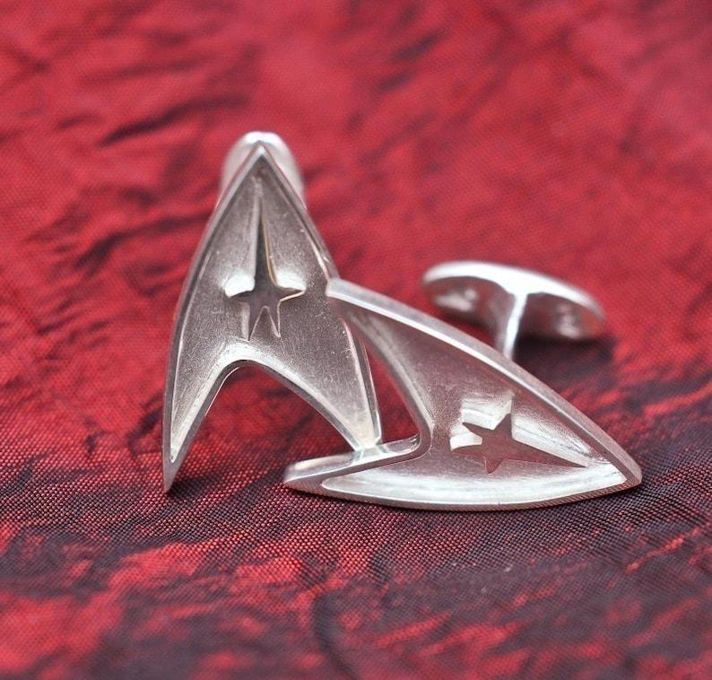Solid Sterling Silver Star Trek Cufflinks image 0