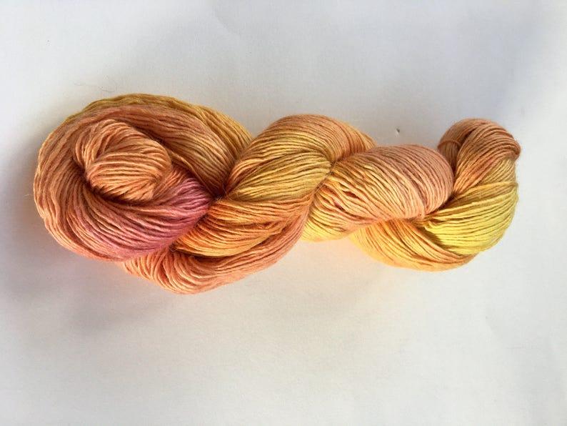 Nimbus Hand Dyed Alpaca Wool /& Silk Fingering Yarn Rose Gold colorway