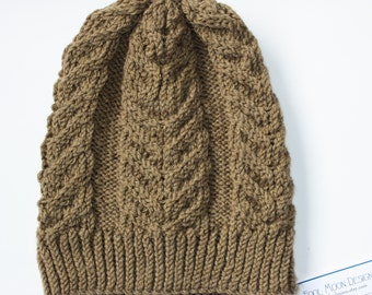 Hand knit cabled hat, latte brown