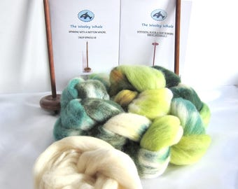 Double Drop Spindle Yarn Spinning Kit, Colorway, The Good Green Earth!