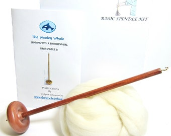 Drop Spindle Yarn Spinning Basic Kit  Available in Either Top or Bottom Whorl