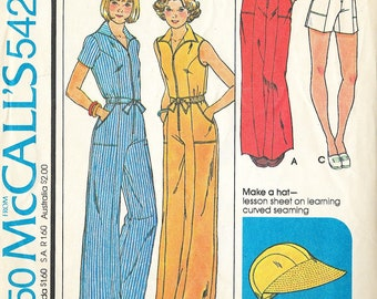 McCall's 5421 - Vintage 1970s WIDE LEG High Waist JUMPSUIT - Sewing Pattern - Size 14 - 36 Bust