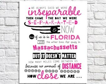 Long Distance Friendship Quote Print Best Friend Long Distance Friends Going Away Gift Far Away Friends Long Distance Sister Art Missing You