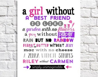 Best Friend Gift Idea Best Friend Birthday Gift Keepsake Print Unique Going Away Gift Goodbye Gift Personalized Girl Friend Art Tween Decor