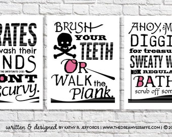 Delicieux Pirate Bathroom Art Print Set Of 3. Wash Your Hands. Take A Bath. Brush  Your Teeth. Boy Or Girl Pirate Theme Art. Kid Pirate Bathroom Decor.